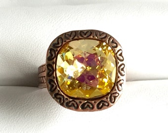 Brandy Crystal Ring, Swarovski Brandy Ring, Swarovski Yellow Crystal Ring