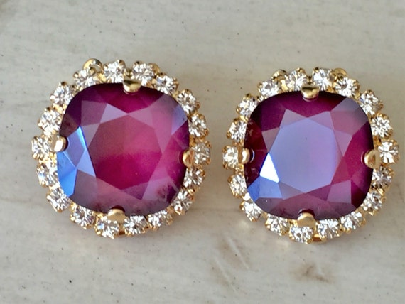 Dark Red Lacquer & Clear Cushion Cut Crystal Clip On Earrings, Yellow Gold