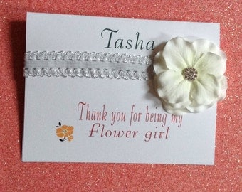 Headband baby child girl gift flower girl or birthday gift with hand made card