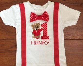 Daniel Tiger Birthday Shirt with Suspenders and Bowtie