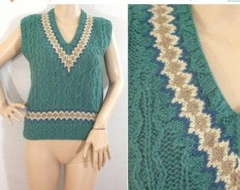 75% OFF February 5 - 7 90s Sweater Vest, Lands End Vest,  Green Sweater Vest, Cable Vest, Pullover Vest, Short Vest, Wool Vest, Cable Knit,