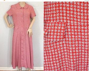 50% OFF Feb 9 - 11 80s Red Dress, Midi dress, Preppy dress, Talbots Dress, Red White Blue, Patriotic dress, rayon dress, print dress, button
