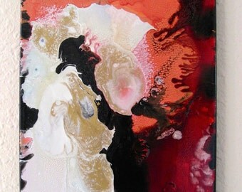 Original Impressionistic/Abstract 'Rara Avis' 11x14 inch canvas Multi-Media reds, salmon-oranges, pearl-white, black, and gold
