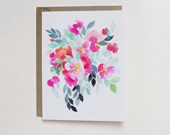 Watercolor Pink Turquoise Cluster A2 Greeting Card