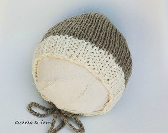 Knitted Baby Boy Bonnet, Tan and Cream Bonnet in soft Cotton for Newborn Boy and Girl,  Newborn Photo Prop.