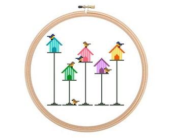 Bird Houses - Cross stitch pattern PDF, Bird house Pattern, Bird House Cross Stitch, Bird Cross Stitch, Instant Download.