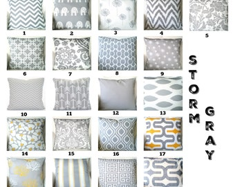 Gray Pillow Covers, Grey White Cushions, Decorative Throw Pillows, Chevron Nursery Decor, Geometric One or More Mix & Match All Sizes