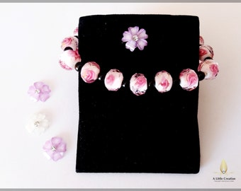 Murano glass floral stretchy bracelet