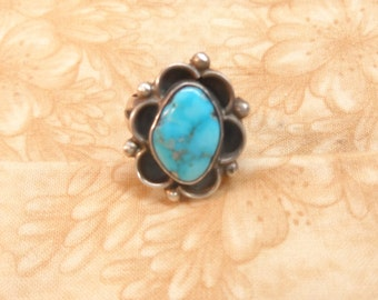 Turquoise blue silver ring jewelry native american vintage size 7