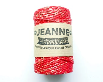 "1 Reel 100 m rope ""Baker's twine"", red and gold metallic thread, 2 mm thick 2 strands."