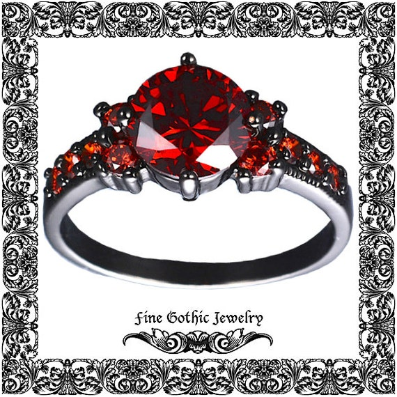 Red and Black Engagement Ring Red and Black by FineGothicJewelry