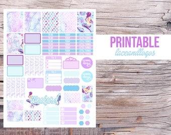 Printable Planner Stickers Watercolor Scales   happy Planner Weekly Sticker Set Mermaid  Week Kit Purple Blue Glam PlanFor Erin Condren