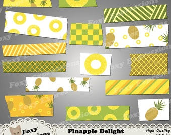 Pineapple delight washi tape comes with pineapples, slices, checkers, & stripes all in this fruits natural shades of orange, green, brown