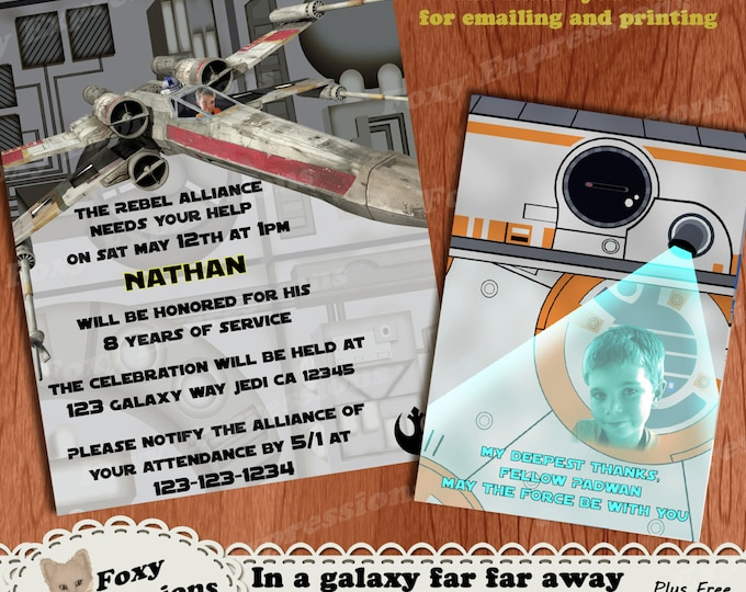 In a Galaxy Far Far Away Birthday Invite & Thank You Card. Comes in 5x7 or 4x6. You can add a photo of your child. Can be emailed or printed