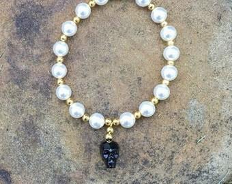 Swarovski Crystal Skull Bracelet with Swarovski crystal beads goth