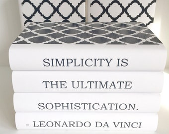 Leonardo da Vinci Quote Books, Books with Quote by Leonardo Da Vinci, Simplicity Quote, Decorative Books with Quote, Book Lover, Friend Gift