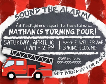 Firetruck Themed Birthday Invitations - Digital File Only -- Customized with Your Info!