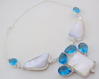 Mother Of Pearl-Blue Topaz Stone .925 Silver handmade Necklace Jewelery (Jh-82)