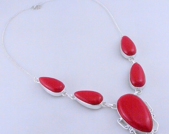 Coral Stone .925 Sterling Silver Handmade Jewelry Necklace (f-403)