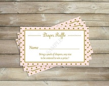 50% OFF SALE Pink and Gold Diaper Raffle Cards, Princess Baby Shower Raffle Sheets , Girl Baby Shower Decorations , Party Printables , Insta