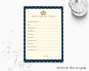 Prince Baby Shower Games , Advice For The Mommy , Royal Baby Shower Games , Printable , Instant Download