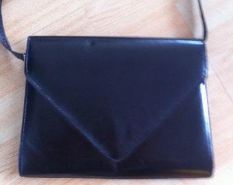 Vintage 70s leather clutch bag evening purse grab purse shoulder bag