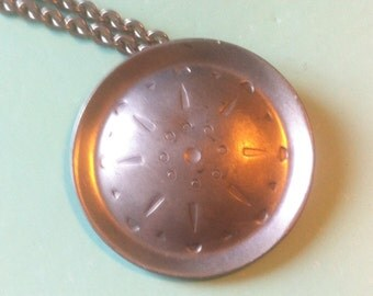 Silver tone medieval 60s style pendant and chain boho vintage retro