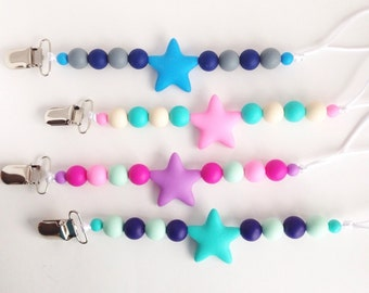 Star Silicone Pacifier Clip, Silicone Teether Clip, Silicone Beads, Baby Pacifier Clip, Paci Clip, Silicone Teether Holder