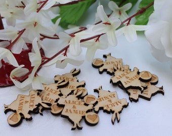 White Rabbit Alice in Wonderland themed PERSONALISED Wooden Wedding Table Confetti