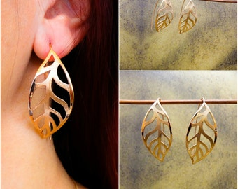 Sterling Silver Leaf Imprint Earrings - Textured - Large Earrings -  Silver Leaf - Sterling Silver Jewelry - Handcrafted Jewelry