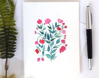 Handpainted Watercolor Cards,  Flowers Greeting Cards, Number Code 17