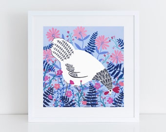 White Chicken Among Flowers Art Print | Chicken Art | Bird Print | Chicken Wall Art | Kitchen Art