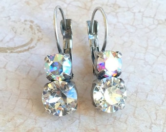 Swarovski Earrings, Clear Crystal and AB, Antique Silver, 8mm and 6mm, Bridal, Vintage Earrings, Leverback, Drop earrings, Swarovski Clear