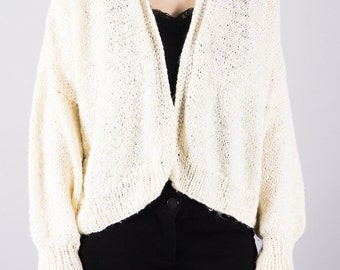 Vintage knitted Cardigan - handmade - sweater - yellow - timeless - knitted Cardigan - cozy
