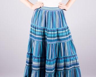 Vintage rock with Strip - long rock - ethnic - hippie - boho - blue stripes - vintage 1970 - waist skirt - skirts 70's -.