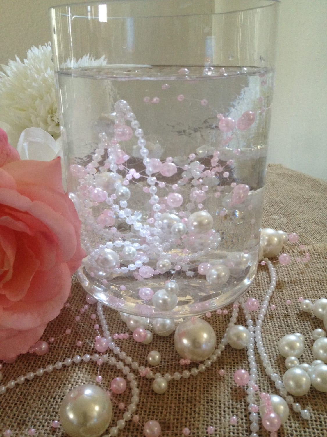 Unique floating beaded pearls centerpiece light pink and