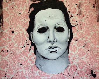 "Halloween Michael Meyers 12""X 12""painting/collage"