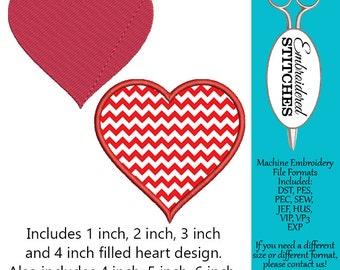 Heart Applique and Filled Embroidered Design for Machine Embroidery Instant Download 7 Sizes Included