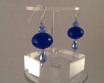 large cobalt blue glass dangle earrings.