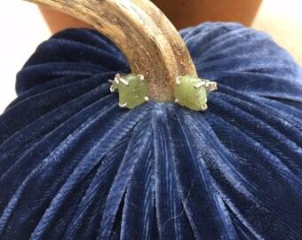 Rough cut peridot earrings
