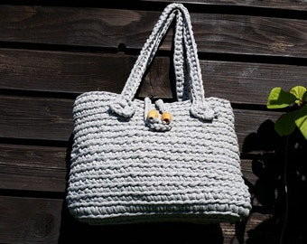 Grey handbag, bag, shoppping bag, basket, handbag, women's accessory, beach bag crochetted handmade with a fastener; a present for her