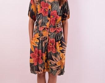 Vintage Jumpsuit With Tropical Print (464)