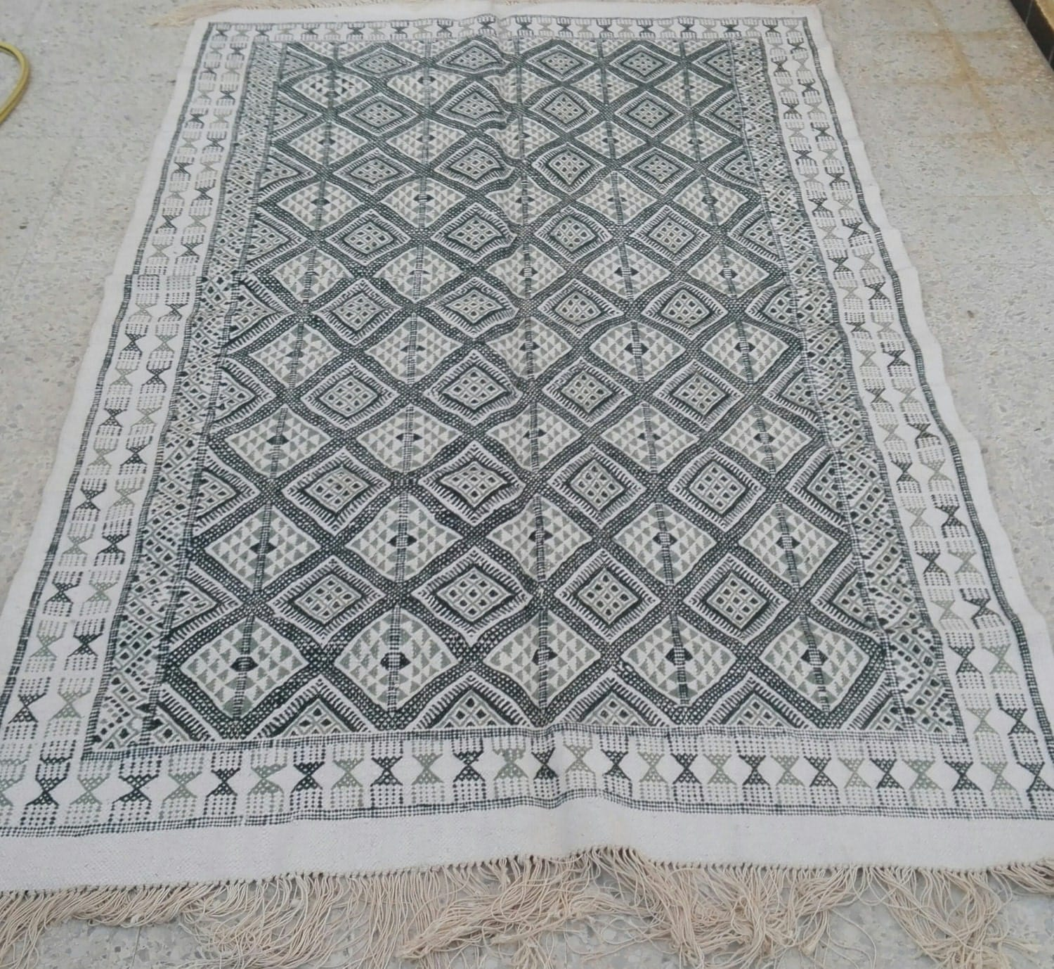 Large Kilim Rugwhite And Green Rug Vintage Turkish Kilim