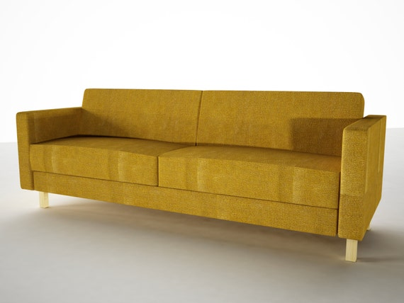 Slipcover for ikea 3 seat karlstad sofa bed in velour fabric for Velour divan beds