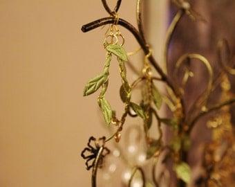 Ella's Green Leaf Crochet Earrings /Gypsy Boho Fantasy Renaissance Festival Costume Gift