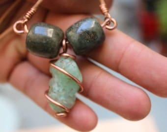 chrysoprase and guatemala jade on recycled copper - necklace pendant