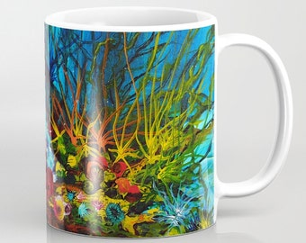 Art Mug, Blue Coffee Mug, Beach Mug, Unique Mugs, Abstract Coffee Mug, Coffee Cup, Artistic Mug, Ceramic Mug, Gifts, Housewarming Gift