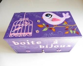"""box or trunk Wooden jewelry """" bird cage"""" - Purple"""
