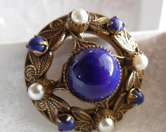 On Sale Now Original by Robert Gold Tone Brooch with Blue Cabachon Stone Centerpiece, Beaded Edge with Faux Pearls and Blue