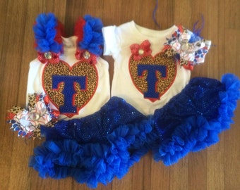 Texas Rangers Ruffled tank and short set with matching bow